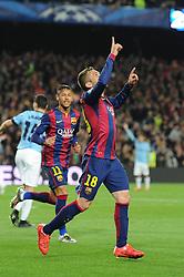 Barcelona's Jordi Alba begins to celebrate his goal which was ruled offside - Photo mandatory by-line: Dougie Allward/JMP - Mobile: 07966 386802 - 18/03/2015 - SPORT - Football - Barcelona - Nou Camp - Barcelona v Manchester City - UEFA Champions League - Round 16 - Second Leg