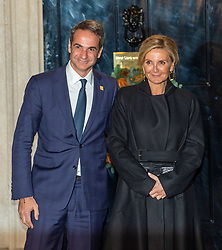 © Licensed to London News Pictures. 03/12/2019. London, UK. Prime Minister of Greece Kyriakos Mitsotakis arrives in Downing Street as NATO Leaders' gather for a reception hosted by United Kingdom Prime Minister Boris Johnson.<br /> Allied leaders are in London for a NATO summit. The summit also marks NATO's 70th anniversary.<br /> Photo credit: Peter Manning/LNP<br /> <br /> <br /> .