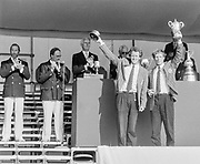 Henley on Thames, England, 1989 Henley Royal Regatta, River Thames, Henley Reach,  [© Peter Spurrier/Intersport Images], The Double Sculls Challenge Cup: Ronald  FLORYN, Nico RIENKS, Die Leythe & Okeanos, Holland, , Prize Giver, [L] HRH,  The Duke of Kent, with Regatta Chairman  Peter CONI, QC.,