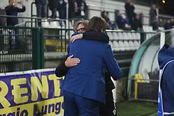 November 3, 2018 - Vercelli, Italy - Pro Vercelli's coach Grieco Vito say hello to Vieali William before saturday night Lega Pro match  (Credit Image: © Andrea Diodato/NurPhoto via ZUMA Press)