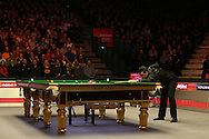 Ronnie O'Sullivan (Eng) in action. Ronnie O'Sullivan v Liang Wenbo, 1st round match at the Dafabet Masters Snooker 2017, day 1 at Alexandra Palace in London on Sunday 15th January 2017.<br /> pic by John Patrick Fletcher, Andrew Orchard sports photography.
