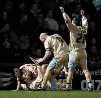 Photo: Jed Wee.<br /> Scunthorpe United v Bristol City. Coca Cola League 1. 14/02/2006.<br /> <br /> Bristol celebrate with Dave Cotterill.