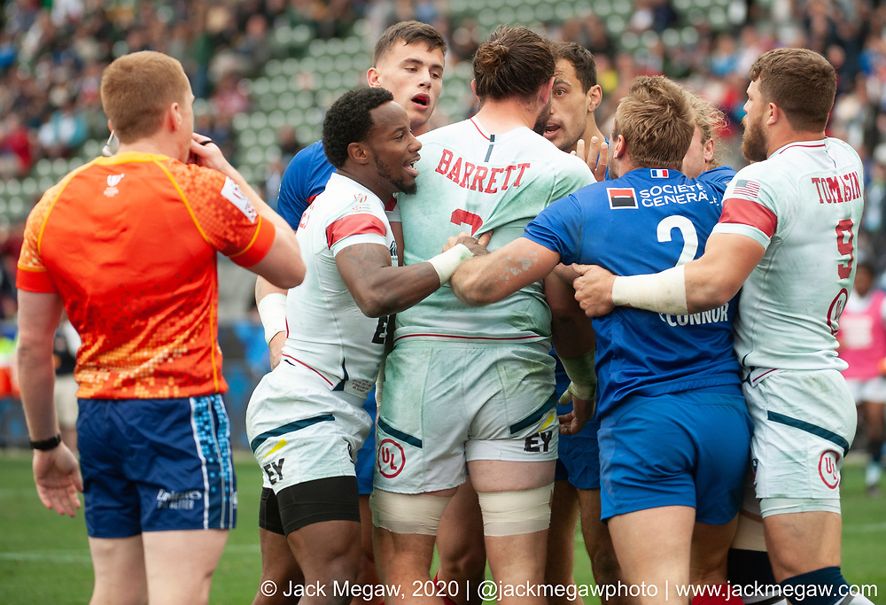 Teams compete in the knockout stages of the 2020 Los Angeles Sevens at Dignity Sports Health Park in Los Angeles, California. March 1, 2019. <br /> <br /> © Jack Megaw, 2020
