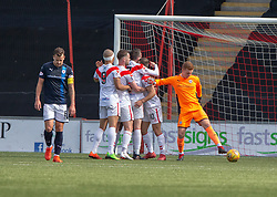 Airdrie's Dale Carrick (10) cele scoring their second goal. half time : Airdrie 2 v 0 Raith Rovers, Scottish Football League Division One played 25/8/2018 at the Excelsior Stadium.