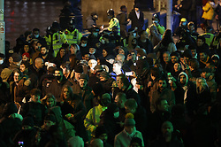 © Licensed to London News Pictures. 31/12/2020. London, UK. Anti lockdown protestors gather near Westminster on a muted New Year's Eve in central London. Photo credit: Peter Macdiarmid/LNP
