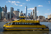 A yellow New York Water Taxi boat sails along the East River, just passing under the Brooklyn Bridge, with Lower Manhattan on the other side of the river.  Photographed across the East River from Brooklyn, New York City, New York, United States of America. <br /> .