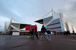 Fans make their way to the Bet365 Stadium ahead of the Sky Bet Championship match between Stoke City' and Ipswich Town