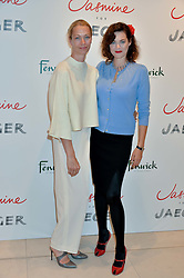 Left to right, SHEILA McKAIN WAID and JASMINE GUINNESS at the launch of the 'Jasmine for Jaeger' fashion collection by Jasmine Guinness for fashion label Jaeger held at Fenwick's, Bond Street, London on 9th September 2015.