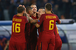October 31, 2017 - Rome, Italy - Stephan El Shaarawy celebrating with the teammates the goal of 1-0 scored  during the UEFA Champions League football match AS Roma vs Chelsea on October 31, 2017 at the Olympic Stadium in Rome. (Credit Image: © Matteo Ciambelli/NurPhoto via ZUMA Press)