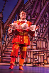 """© Licensed to London News Pictures. 08/12/2011. London, England. Kev Orkian as Idle Jack. Dick Whittington panto starring Dame Edna Everage (Barry Humphries) as the """"Saviour of London"""" opens at the New Wimbledon Theatre, London. The show, written and directed by Eric Potts is scheduled to run to 15 January 2012. Photo credit: Bettina Strenske/LNP"""