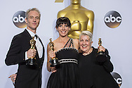 """88th Academy Awards press room.<br /> Best Makeup and Hairstyling for the film """"Mad Max Fury Road."""" Ella Wardega, Lesley Vanderwalt, Damian Martin"""