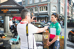 Elisa Longo-Borghini (ITA) of Wiggle Hi5 Cycling Team is being interviewed before Liege-Bastogne-Liege - a 136 km road race, between Bastogne and Ans on April 22, 2018, in Wallonia, Belgium. (Photo by Balint Hamvas/Velofocus.com)
