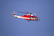 Fire fighter's helicopter AgustaWestland AW139 (VF-140) in flight Photographed in Malpensa, Milan, Italy