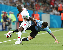 SOCHI, June 30, 2018  William Carvalho (L) of Portugal vies with Nahitan Nandez of Uruguay during the 2018 FIFA World Cup round of 16 match between Uruguay and Portugal in Sochi, Russia, June 30, 2018. (Credit Image: © Ye Pingfan/Xinhua via ZUMA Wire)