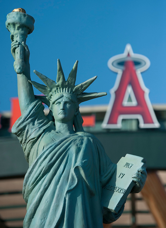 The Statue of Liberty sits in front of Angel STadium, part of the Angels' Memorial Day activities before the Angels 4-2 loss to the Houston Astros Saturday at Angel Stadium.<br /> <br /> ///ADDITIONAL INFO:   <br /> <br /> angels.0529.kjs  ---  Photo by KEVIN SULLIVAN / Orange County Register  -- 5/28/16<br /> <br /> The Los Angeles Angels take on the Houston Astros Saturday at Angel Stadium.