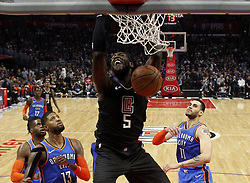 March 8, 2019 - Los Angeles, California, U.S - Los Angeles Clippers' Montrezl Harrell (5) dunks during an NBA basketball game between Los Angeles Clippers and Oklahoma City Thunder Friday, March 8, 2019, in Los Angeles. (Credit Image: © Ringo Chiu/ZUMA Wire)