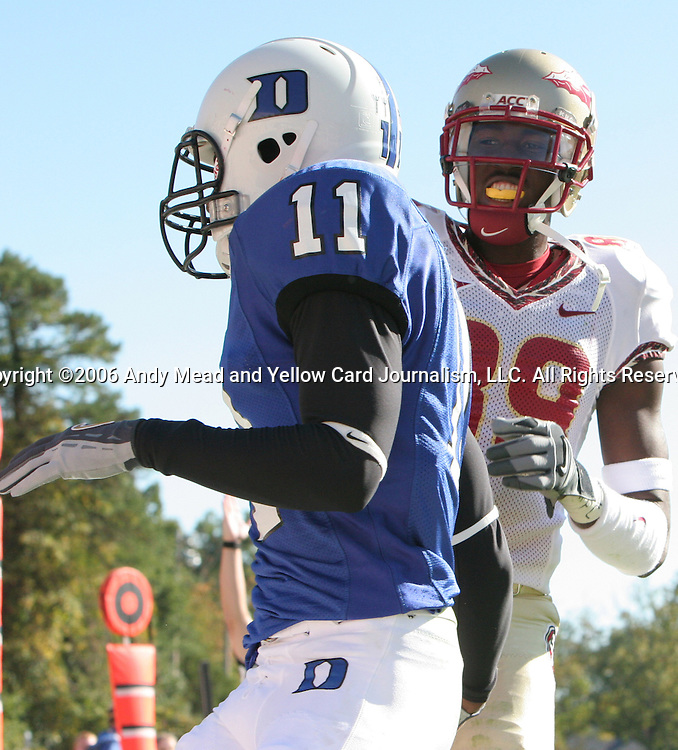 14 October 2006: Florida State's Greg Carr (89) taunts Duke's John Talley (11) after catching a touchdown pass. The Florida State University Seminoles defeated the Duke University Blue Devils 51-24 at Wallace Wade Stadium in Durham, North Carolina in an Atlantic Coast Conference NCAA Division I College Football game.