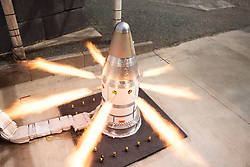March 26, 2019 - Elkton, Maryland, U.S. - Image Released Today: Engineers conducted a static hot-fire test of the Orion spacecraft's Launch Abort System Attitude Control Motor at a Northrop Grumman facility on March 20, 2019 in Elkton, Maryland. The 30-second test is one in a series of three tests aimed at qualifying the motor for human spaceflight, to help ensure Orion is ready from liftoff to splashdown for missions to the Moon. (Credit Image: ? Northrup Grumman/NASA via ZUMA Wire/ZUMAPRESS.com)