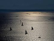 The only place to be during a 2021 historic heatwave was, perhaps, on the water where a solid breeze made sailing Shilshole Bay a joy. (Dean Rutz / The Seattle Times)