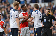 Danny Welbeck of Arsenal and Jan Vertonghen of Tottenham Hotspur clash during the English Premier League match at the White Hart Lane Stadium, London. Picture date: April 30th, 2017.Pic credit should read: Robin Parker/Sportimage