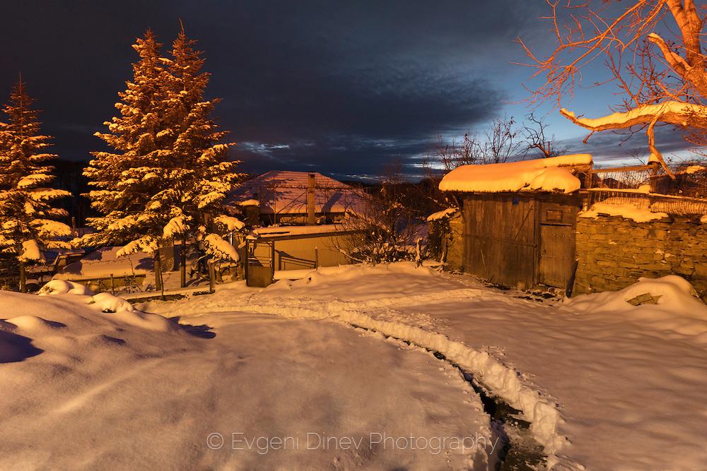 Village of Bukovets at winter night