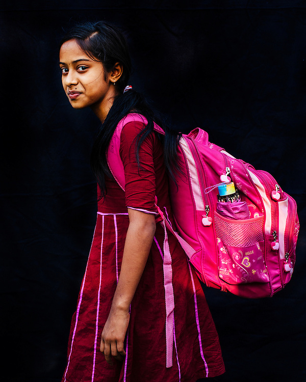 Portrait of a girl with her backpack