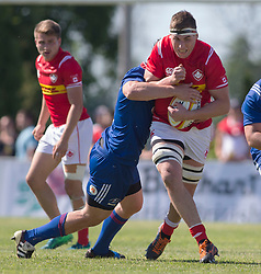 June 16, 2018 - Ottawa, ON, U.S. - OTTAWA, ON - JUNE 16: Josh Larsen (4 Lock ) of Canada tries to break a tackle in the Canada versus Russia international Rugby Union action on June 16, 2018, at Twin Elms Rugby Park in Ottawa, Canada. Russia won the game 43-20. (Photo by Sean Burges/Icon Sportswire) (Credit Image: © Sean Burges/Icon SMI via ZUMA Press)