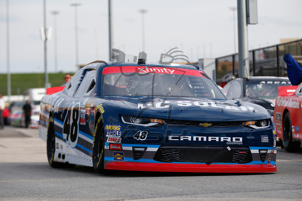 October 20, 2017 - Kansas City, Kansas, USA: Brennan Poole (48) takes to the track to practice for the Kansas Lottery 300 at Kansas Speedway in Kansas City, Kansas.