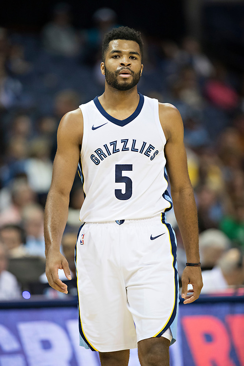 MEMPHIS, TN - OCTOBER 30:  Andrew Harrison #5 of the Memphis Grizzlies looks at photographer during a game against the Charlotte Hornets at the FedEx Forum on October 30, 2017 in Memphis, Tennessee.  NOTE TO USER: User expressly acknowledges and agrees that, by downloading and or using this photograph, User is consenting to the terms and conditions of the Getty Images License Agreement.  The Hornets defeated the Grizzlies 104-99.  (Photo by Wesley Hitt/Getty Images) *** Local Caption *** Andrew Harrison