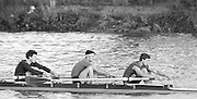 """London, Great Britain.<br /> """"Isis"""" Oxford University BC M4- competing at the 1986 Fours Head of the River Race, Reverse Championship Course Mortlake to Putney. River Thames. Saturday, 15.11.1986<br /> left to right, Donald MACDONALD, Tom CADOUX-HUDSON and Chris HUNTINGTON.<br /> [Mandatory Credit: Peter SPURRIER;Intersport images] 15.11.1986"""