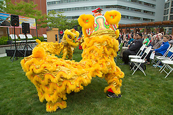United States, Washington, Bellevue, Lion Dance performance at Bellevue City Hall
