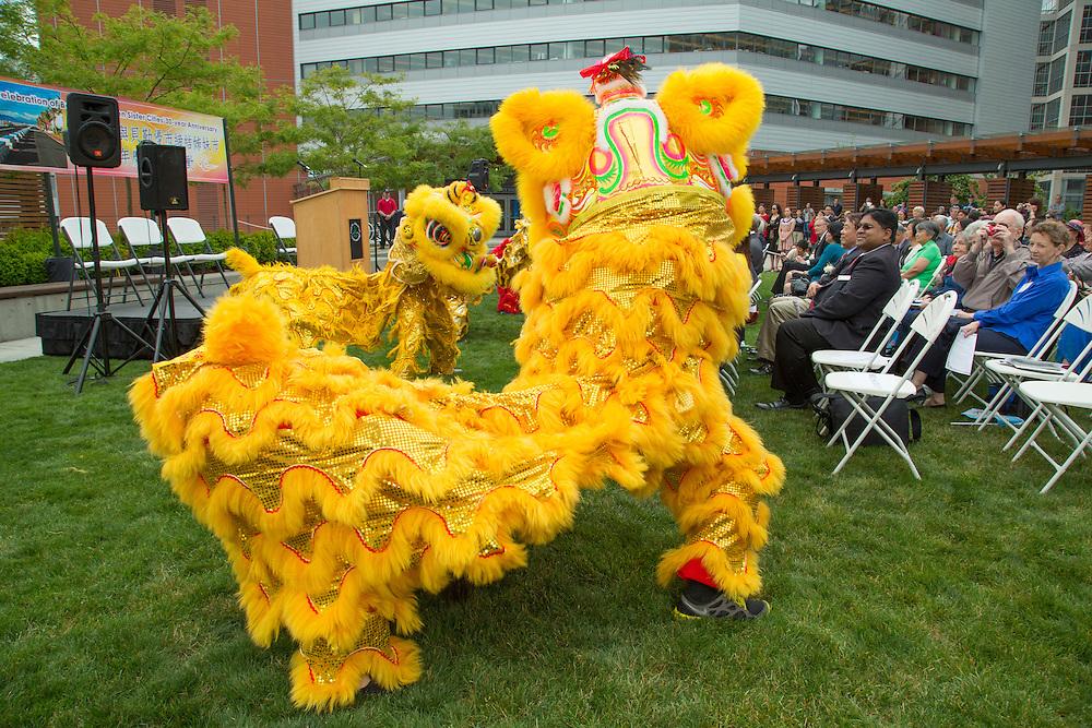 United States, Washington, Bellevue, Lion Dance performance at Bellevue City Hall