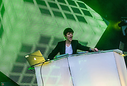 """Madeon plays the main stage. Sunday, Rockness 2013, the annual music festival which took place in Scotland at Clune Farm, Dores, on the banks of Loch Ness, near Inverness in the Scottish Highlands. The festival is known as """"the most beautiful festival in the world""""."""