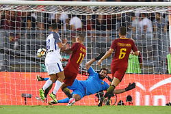 August 26, 2017 - Rome, Italy - Alisson Becker of Roma saving on Antonio Candreva of Internazionale kicking at Olimpico Stadium in Rome, Italy on August 26, 2017during the Serie A match between AS Roma and FC Internazionale on August 26, 2017 in Rome, Italy. (Credit Image: © Matteo Ciambelli/NurPhoto via ZUMA Press)