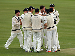 Middlesex's James Franklin celebrates taking the wicket of Durham's Scott Borthwick - Photo mandatory by-line: Robbie Stephenson/JMP - Mobile: 07966 386802 - 03/05/2015 - SPORT - Football - London - Lords  - Middlesex CCC v Durham CCC - County Championship Division One