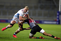 Rugby Union - 2019 / 2020 Premiership Rugby Cup - Final - Sale Sharks vs Harlequins<br /> <br /> Jean-luc de Preez of Sale Sharks is tackled by Aaron Morris of Harlequins, at the A J Bell Stadium.<br /> <br /> COLORSPORT/PAUL GREENWOOD