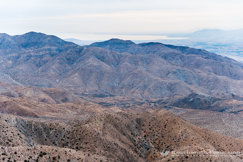 United States, California, Joshua Tree National Park. From The lookout point at Keys View one can see the Coachella Valley and Salton Sea.