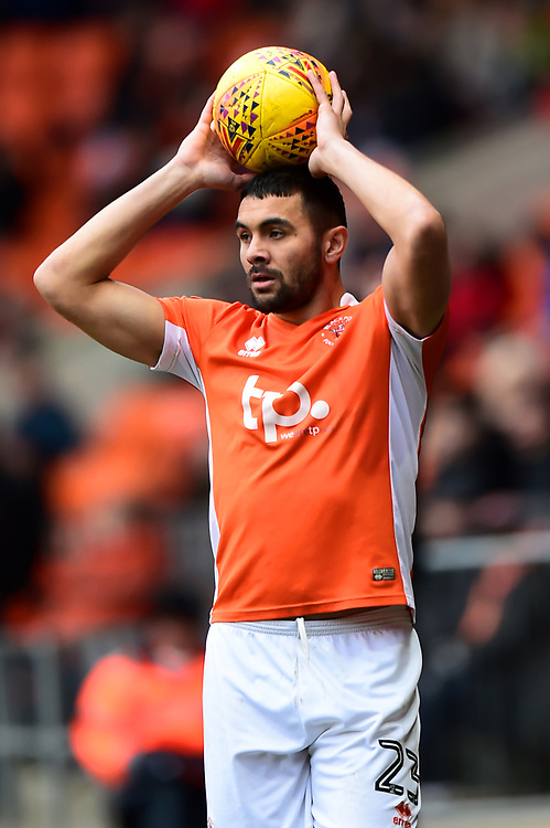 Blackpool's Colin Daniel takes a throw-in<br /> <br /> Photographer Richard Martin-Roberts/CameraSport<br /> <br /> The EFL Sky Bet League One - Blackpool v Peterborough United - Sunday 18th February 2018 - Bloomfield Road - Blackpool<br /> <br /> World Copyright © 2018 CameraSport. All rights reserved. 43 Linden Ave. Countesthorpe. Leicester. England. LE8 5PG - Tel: +44 (0) 116 277 4147 - admin@camerasport.com - www.camerasport.com
