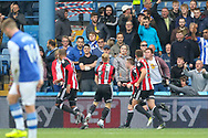Sheffield United midfielder Mark Duffy (21) celebrates his goal 2-3 during the EFL Sky Bet Championship match between Sheffield Wednesday and Sheffield Utd at Hillsborough, Sheffield, England on 24 September 2017. Photo by Phil Duncan.