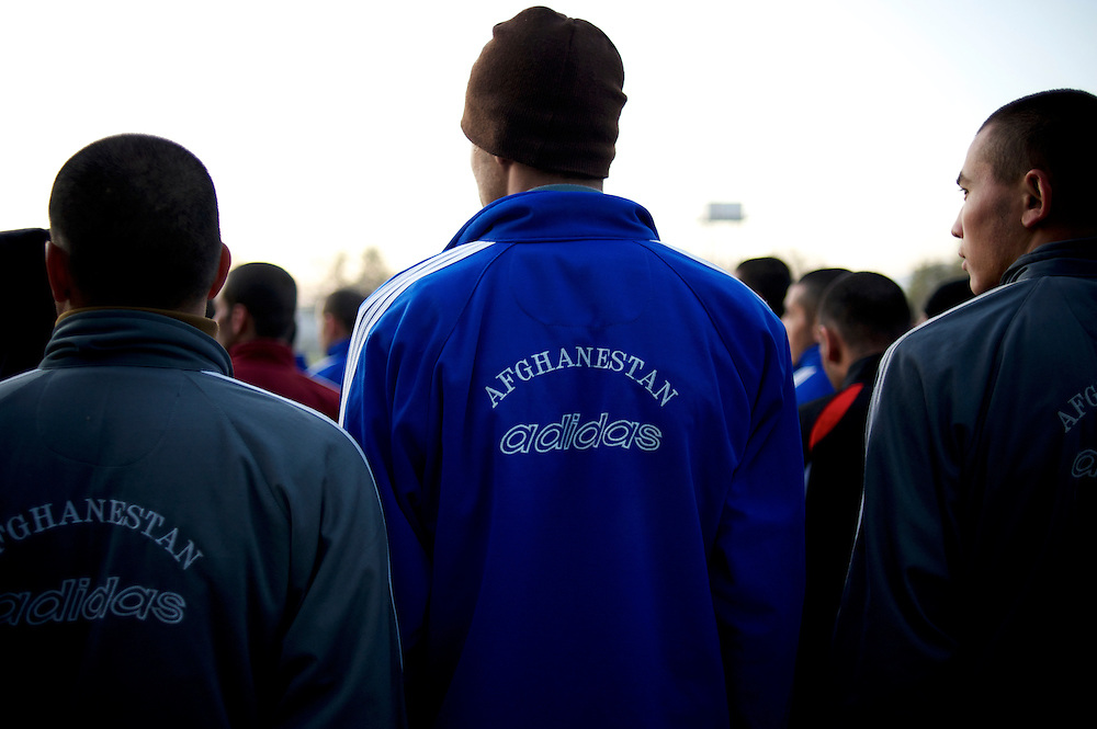 Afghan National Police (ANP) cadets line up for morning exercise at the Afghan Nacional Police Academy in Kabul.