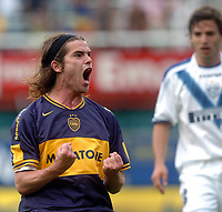 Fotball<br /> Argentina<br /> Foto: Argenpress/Digitalsport<br /> NORWAY ONLY<br /> <br /> 01.10.2006<br /> BOCA Jrs (3) Vs. VELEZ (2) match at the Bombonera Stadium - Torneo Apertura 2006/2007. Here Boca player FERNANDO GAGO celebrating the first goal in his career