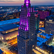 Power and Light Apartments following residential conversion of historic office highrise in downtown Kansas City, Missouri.