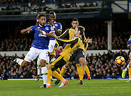 Ashley Williams of Everton flicks the towards goal during the English Premier League match at Goodison Park Stadium, Liverpool. Picture date: December 13th, 2016. Pic Simon Bellis/Sportimage