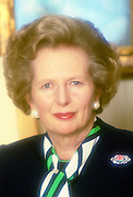 Margaret Thatcher, Prime Minister and leader of the Conservative Party, at 10 Downing Street, London