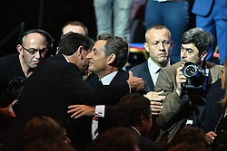 Right-wing Les Republicains (LR) party's candidate for the LR party primaries ahead of the 2017 presidential election, former French President Nicolas Sarkozy during his campaign rally on October 9, 2016 at the Zenith venue in Paris. Photo by Yann Korbi/ABACAPRESS.COM