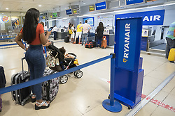 July 26, 2018 - Madrid, Spain - the second day of strike of the company's  low-cost airline Ryanair's cabin crew members at Adolfo Suarez Madrid-Barajas International airport in Madrid, Spain, 26 July 2018. Ryanair has given a forewarning of potential dismissals for more than 100 pilots and 200 employees based in Dublin, to whom it will be offered the possibility of being transferred to Poland or other locations  (Credit Image: © Oscar Gonzalez/NurPhoto via ZUMA Press)