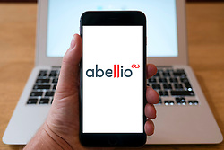 Abellio transport group website on smart phone screen.
