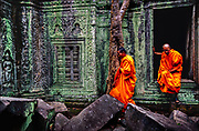 Buddhist monks find the ancient Ta Prohm temple near Siem Reip in Cambodia crumbling the jungle. Built in 1186 during the golden age of the Khmer Empire, Ta Prohm has been left as it was found, swathed by giant fig and silk-cotton trees.  An inscription at Ta Prohm says some 80,000 workers constructed the temple near the better-known Angkor Wat settlement.  © Steve Raymer / National Geographic Creative