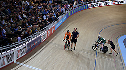 Harrie Lavreysen of Netherlands and Jack Carlin of Great Britain before the Men's Sprint Semi Finals Race 2 during day three of the Tissot UCI Track Cycling World Cup at Lee Valley VeloPark, London.