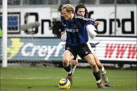 FOTBALL<br />GENT  23/01/2005<br />AA GENT - CLUB BRUGGE<br />DARIO SMOJE - RUNE LANGE<br />PHOTO :  PHILIPPE CROCHET, DIGITALSPORT